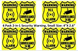 (4 Pack) Warning - Security ALARM and video SURVEILLANCE – home and office burglar alarm system warning sign sticker to prevent intrusion or break-in. Simple and more secure!