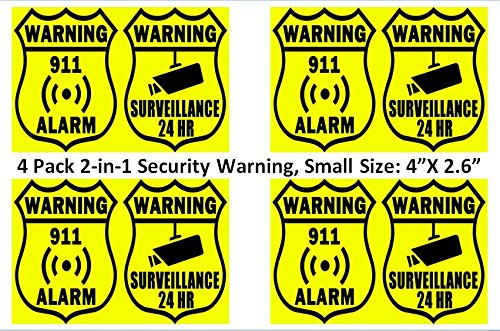 Rayna Creations (4 Pack) Warning - Security Alarm and Video Surveillance - Home and Office Burglar Alarm System Warning Sign Sticker to Prevent Intrusion or Break-in. Simple and More Secure!