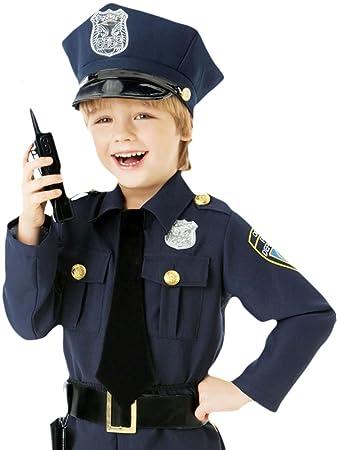 Karnevalsbud Jungen Karneval Kostum Polizei Offizier Dunkelblau