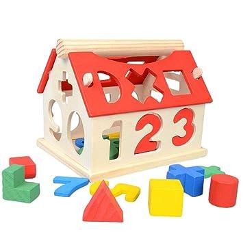 Casa Actividades de Madera, Geometría Puzzle Bloque de Construcción, Número & Geometría