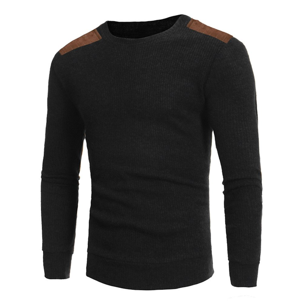 Mens Winter Casual Round Neck Sweatershirt Patchwork Long Sleeve Sweaters Tops Blouse