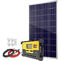Panel solar policristalino de 100 W con controlador de carga y cables de alta eficacia, 12 V 24 V, cargador de batería para sistema de red doméstica