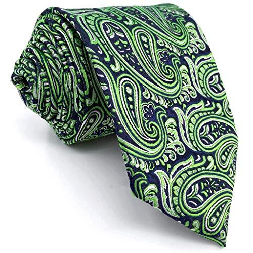 Shlax&Wing Green Blue Paisley Neckties Men's Tie New Design Extra Long Silk