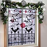 AerWo Black & White Christmas Lace Window Curtain with 2pcs, 40 by 84 inch, Christmas Window Treatment Panels for Christmas Party Window Decorations