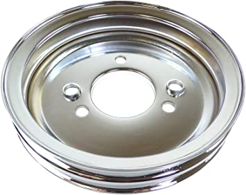 CHEVY BIG BLOCK CHROME STEEL CRANK PULLEY 2 GROOVE SHORT