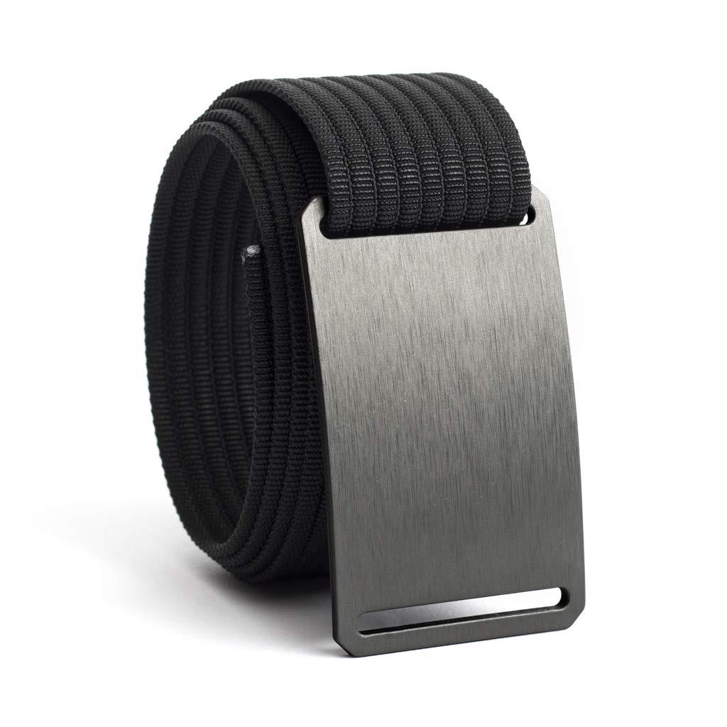 GRIP6 Adjustable No Holes Men's Belt (34, Gunmetal w/Black)
