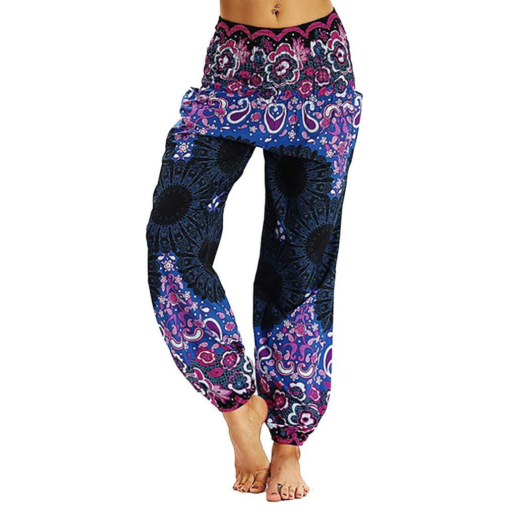 JOFOW Womens Pants Harem Straight Leg Ethnic Aladdin Indian Print Loose Comfy Elastic Mid Waist Casual Long Yoga Trousers