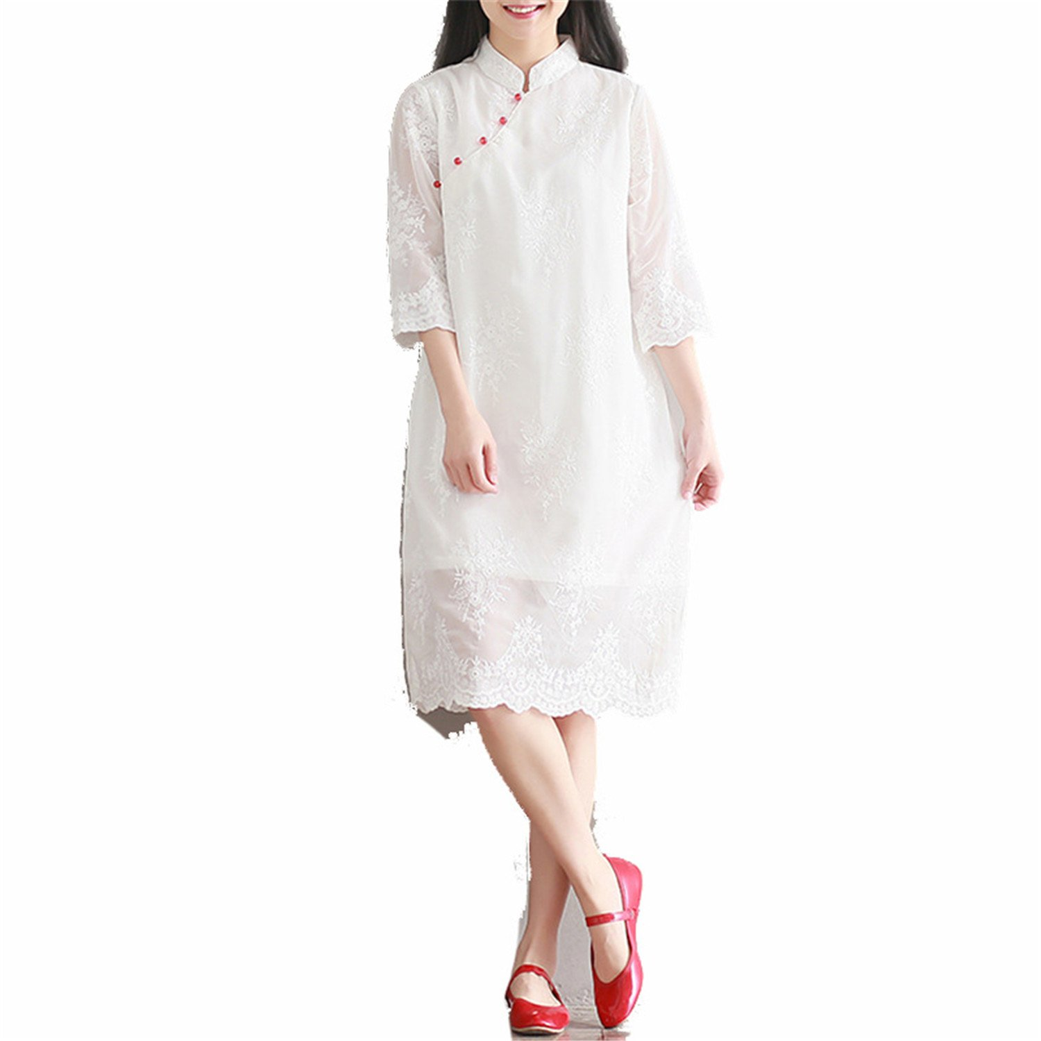 Coac3 Red Traditional Chinese Short Sleeve Cheongsam for Women Wedding Qipao Robe Dresses Party