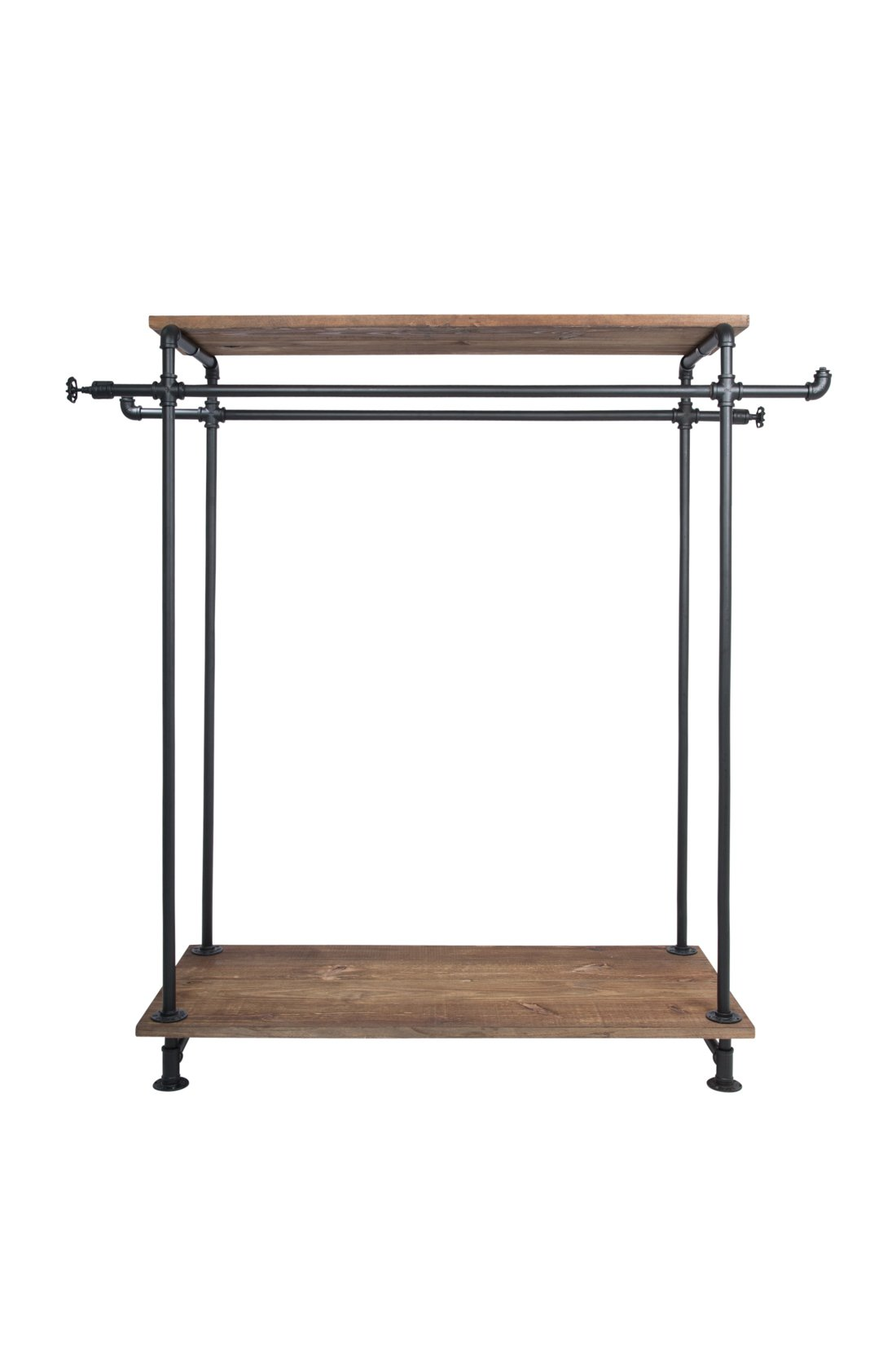 Newtech Display IND-R5/BLK Double Sized Rack with Wood Top and Base, Black