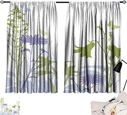 Sinxy Case Tie Up Shades Rod Blackout Curtains Bluebell And Aster 72 X108 Window Treatment Pair For Bedroom Amazon Co Uk Kitchen Home
