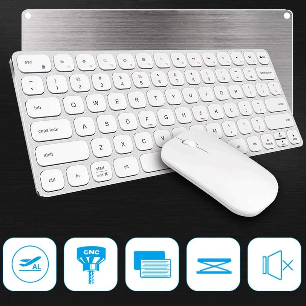 Color : Ivory White OUKB Metal Wireless Keyboard Mouse Set Apple Laptop Desktop MAC External Mute Charging Slim Portable