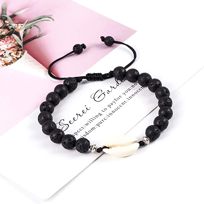 Healing Stress Relief Anxiety Chakra Bracelet Beads Adjustable Seashell Charm Bracelet Anklet Gifts for Him Hawaiian Natural Shell Bracelet Anklets for Women Chakra Bracelet Anklets for Teen Girls