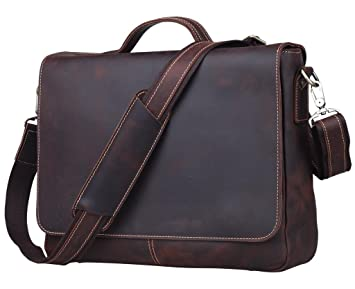 9ecab56902f3 Image Unavailable. Image not available for. Colour  Tiding Men s Dark Brown  Vintage Real Leather Business Briefcase ...