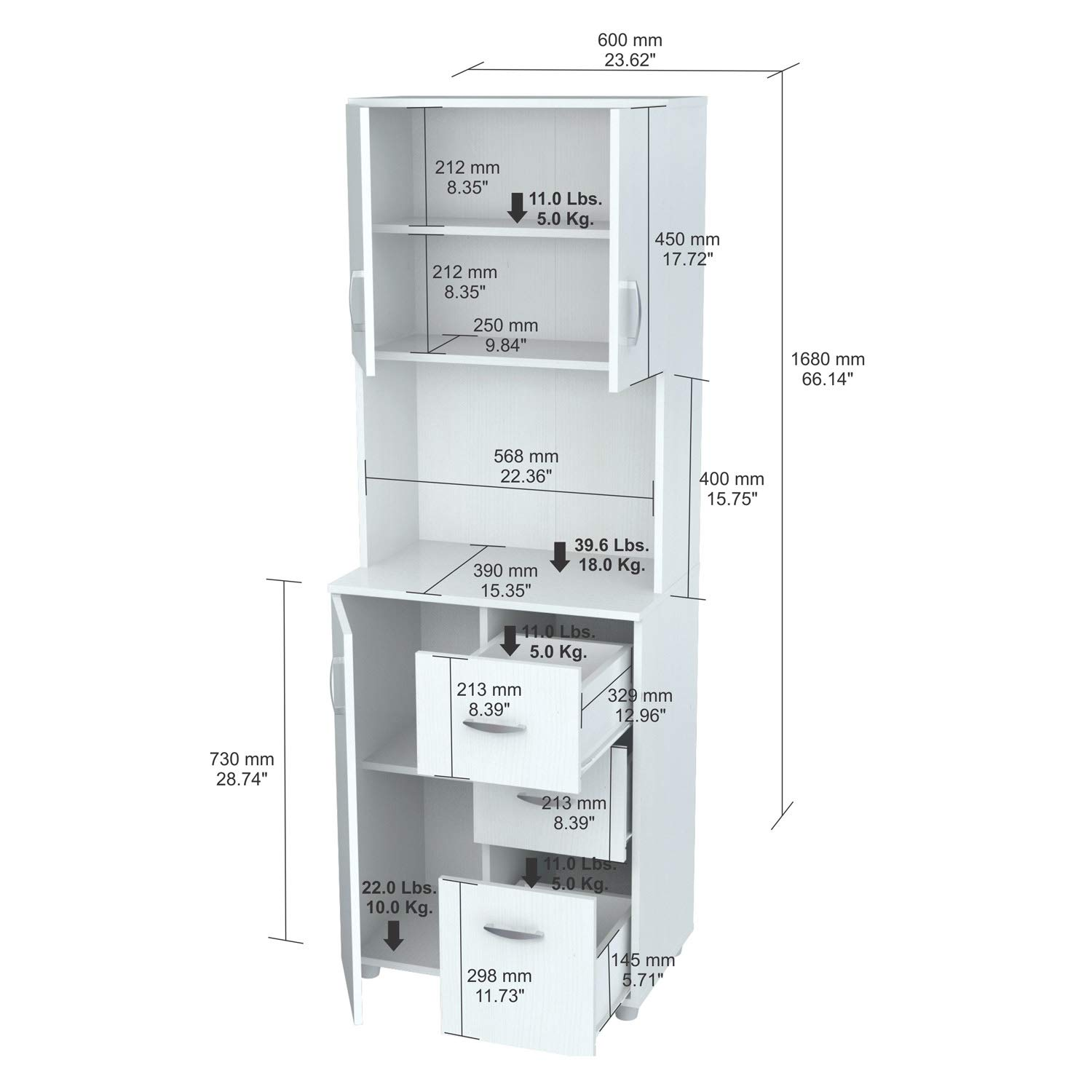 66'' Kitchen Pantry - Contemporary Tall Microwave Stand - Modern Storage Organizer with 3 Doors, Open Shelf and 3 Drawers by Simple Interior (Image #4)