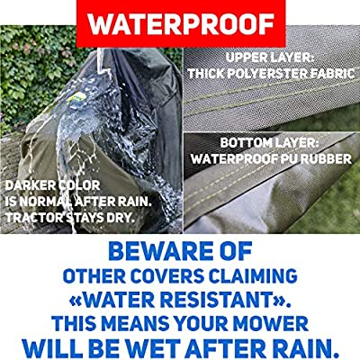 """Riding Lawn Mower Cover Made with 600D Marine Grade Fabricf or Up to 54/"""" Decks"""
