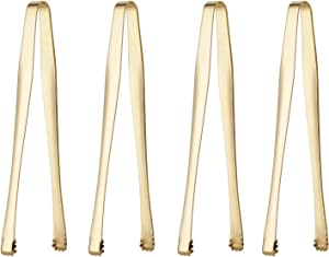 4 Piece Sugar Tongs Set 6-inch Stainless Steel Ice Tongs for Coffee Bar Sugar Server Cubic Sugar Nip Table Silverware Dishwasher Safe (Gold)