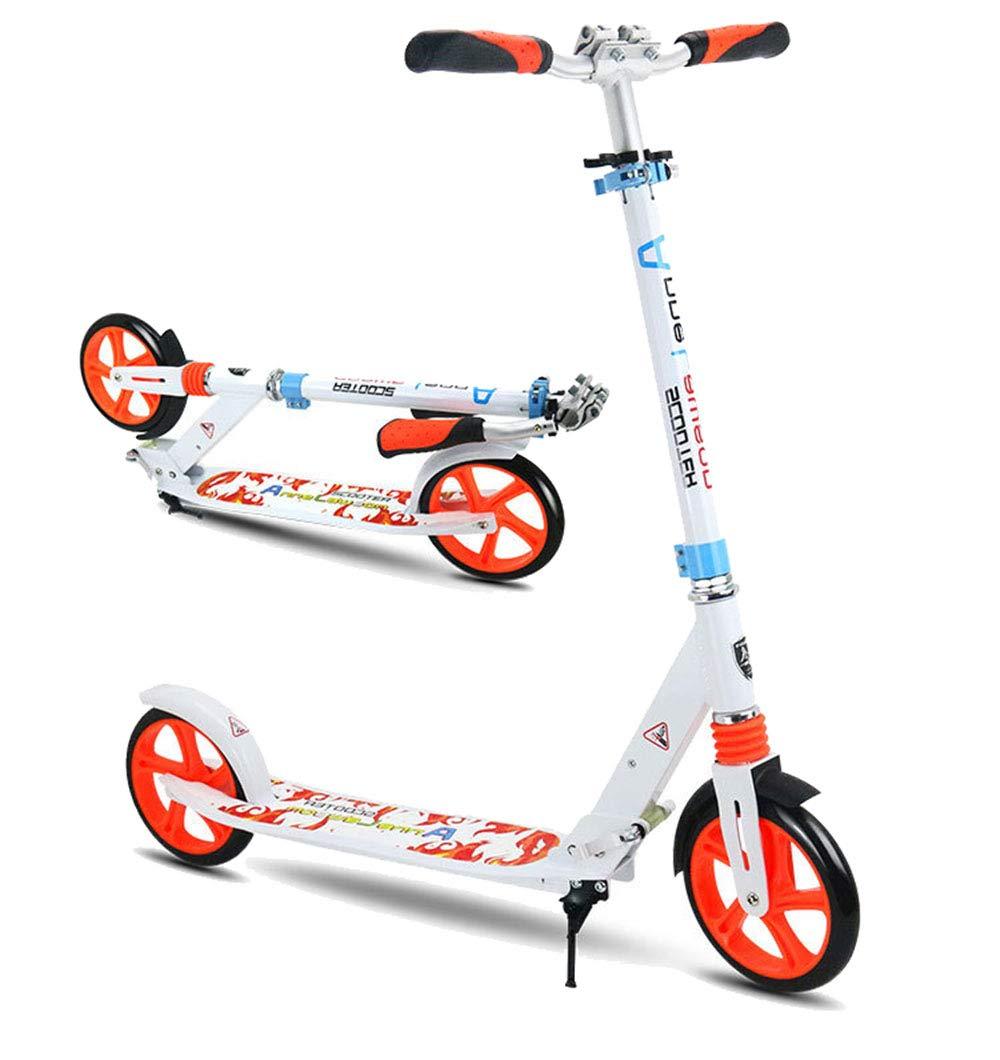 キックスクーター アダルトペダルスクーター2輪アルミ合金2輪折りたたみ式スクーター 持ち運びが簡単 (色 : 白) B07Q8FZ395  白