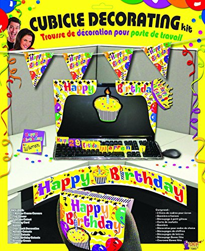 Happy Birthday Cubicle Decorating Kit - Yellow (Cubicle Birthday Decorations)