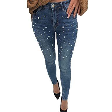 1f9bef37f64 Skinny Jeans pour Femme - Mode Perlé Slim Denim Pantalons Confortable  Extensible Taille Moyenne Push Up