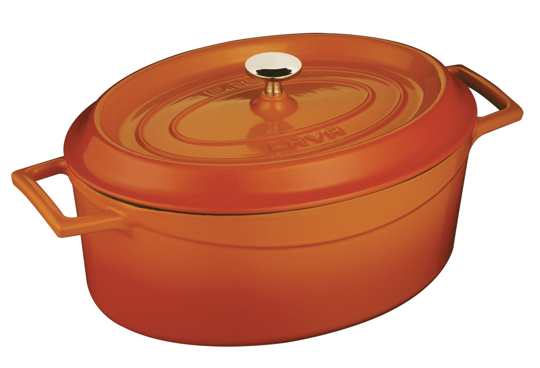 orange Spice 4.25 Quart Lava Signature Enameled Cast-Iron Round Dutch Oven - 7 Quart, Cayenne Red