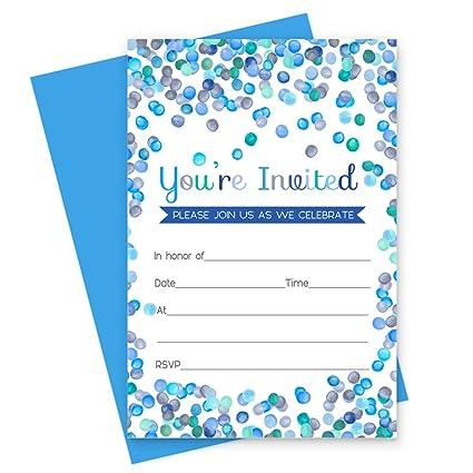 amazon com blue confetti party invitations with cobalt envelopes
