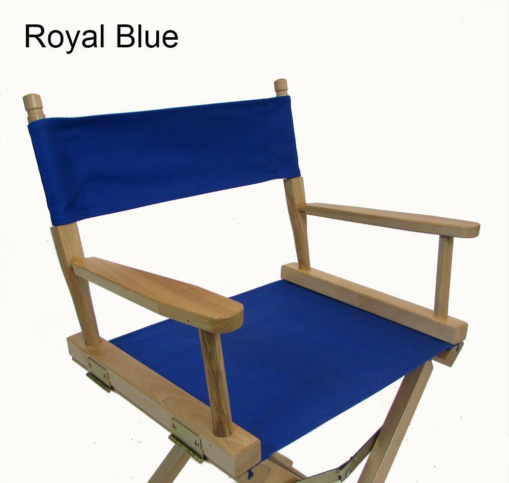 PERSONALIZED IMPRINTED Gold Medal Contemporary 18'' Table Height Natural Frame Directors Chair - Royal Blue