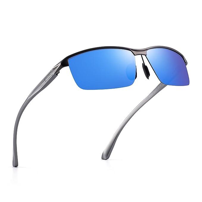 Polarizadas Conducir Gafas de Sol AI-Mg Metal Bisagras de Resorte Semi Sin Montura Anteojos
