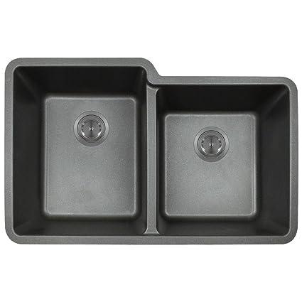 801 Black Undermount Offset Double Bowl Quartz Kitchen Sink ...