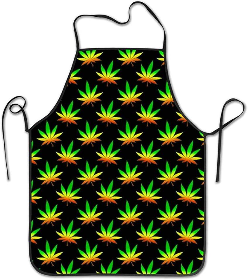 N/A Delantales de Cocina de Cocina Lavables a máquina, Delantal de Moda Impermeable y a Prueba de Aceite, Delantal de Hierba de Marihuana Resistente a Las Manchas Multiusos para