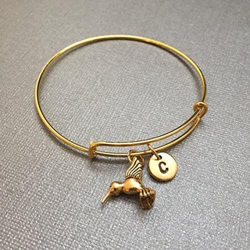 monogram charm bangle initial bracelet expandable bangle hummingbird charm bracelet personalized bracelet Hummingbird bangle
