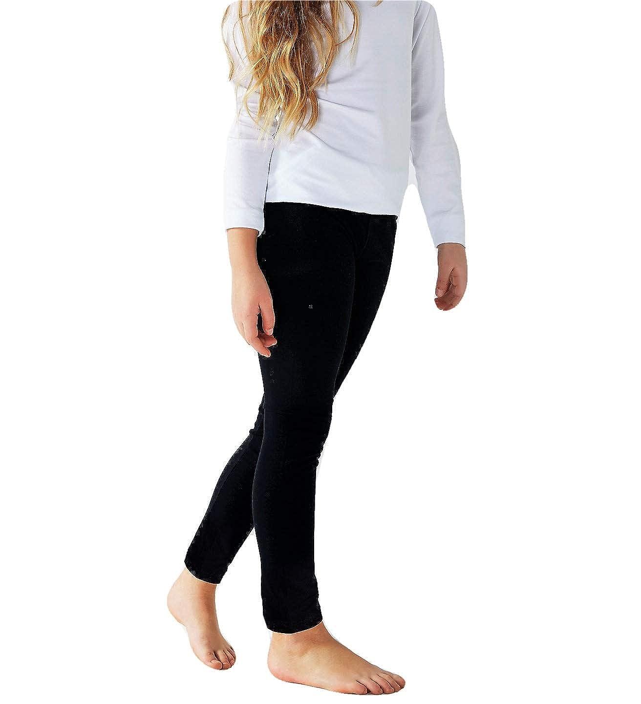 REALIZZATO NEI COLORI NERO E BLU Ideale da indossare nel periodo scolastico LEGGINGS BASICO BAMBINA IN COTONE ELASTICIZZATO LINEA SOFT COTTON