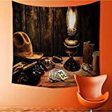 Apestry Home Decor Western Night in Hotel Room Dallas with Nightstand Table and Poker Card Brown Wall Hanging for Bedroom Living Room Dorm32W x 32L Inch