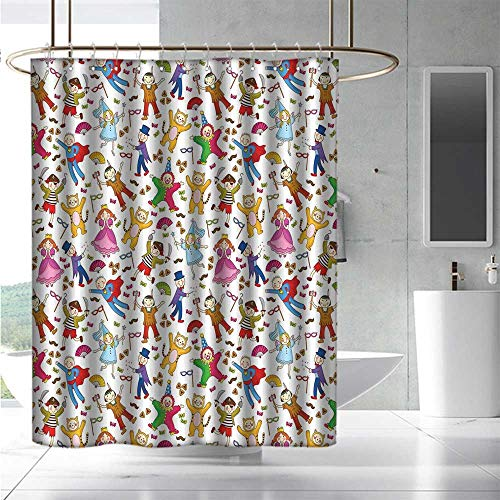 EwaskyOnline Hotel Style Shower Curtain Kids Native American Pirate Princes Cat Costume Wearing Children Pattern Colorful Abstract Fashionable Pattern W72 x L96 Multicolor