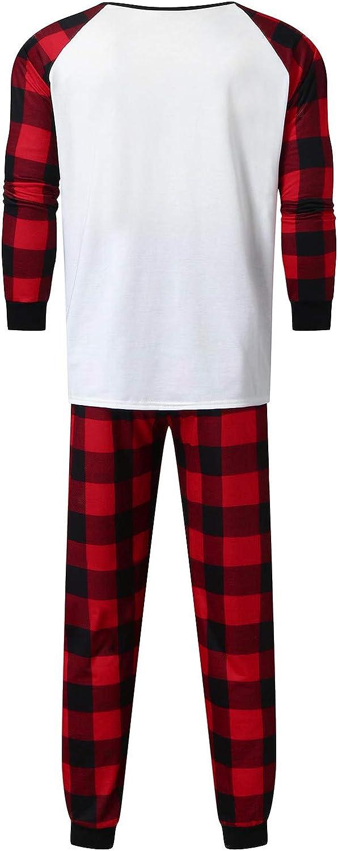 Dysen Merry Matching Pajamas Christmas Pajamas for Family Women Men Kids Baby Pjs Red Plaid Reindeer Loungewear