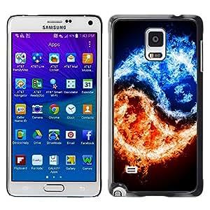 TopCaseStore / la caja del caucho duro de la cubierta de protección de la piel - Yang Fire Ice Black Symbol Symbolic - Samsung Galaxy Note 4 SM-N910