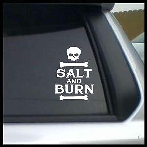 Salt and Burn design with skull & bones, Supernatural-inspired Vinyl Car/Laptop Decal