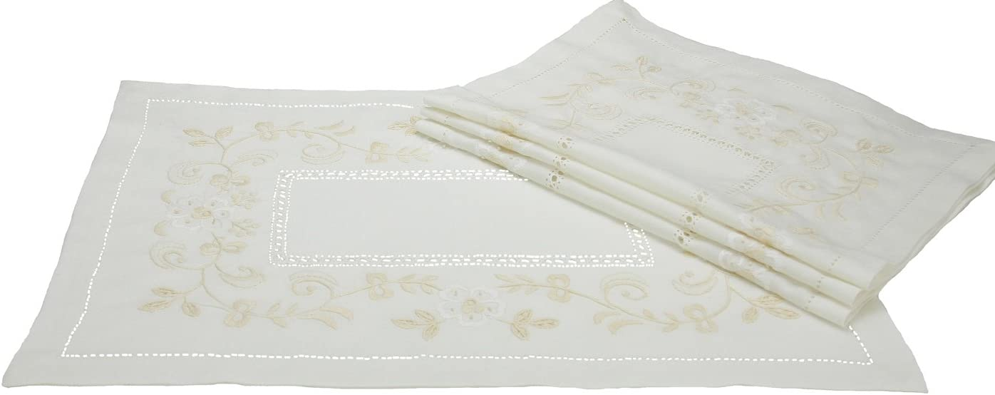 Xia Home Fashions Embroidered Floral Placemats, 14 by 20-Inch, Set of 4