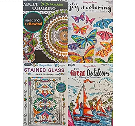 Coloring Books For Adults Mandala Joy Stained Glass Great Outdoors Stress Relief Relaxation