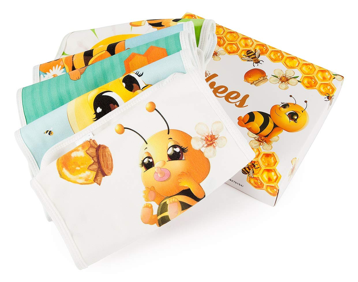 Baby Burp Cloths 5 pack. Newborn premium boxed gift registry baby shower set. Baby Bee themed for both boy and girl. Made extra large with highly absorbent, soft layers of cotton and fleece.