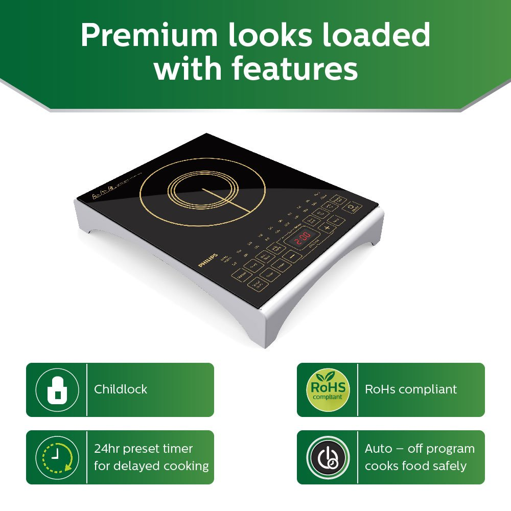 Buy Philips Viva Collection Hd4938 01 2100 Watt Induction Cooktop Simple Circuit Diagram Furthermore Heater With Sensor Touch Black Online At Low Prices In India