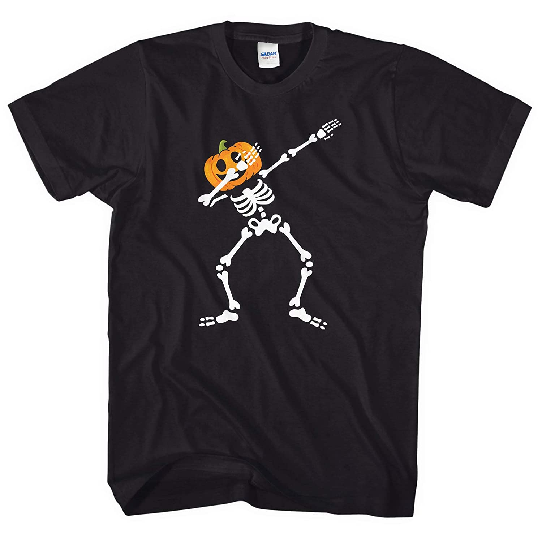 Dabbing Pumpkin Skeleton T-Shirt Halloween Top