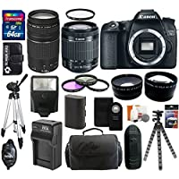 Canon EOS 70D 20.2 MP Digital SLR Camera with Dual Pixel CMOS AF Body and EF-S 18-55mm F3.5-5.6 IS STM + Accessories Kit With Canon Zoom Telephoto EF 75-300mm f/4.0-5.6 III Autofocus Lens + 64GB Card + Bag + Spare Battery & Charger + Flash + Telephoto & Wide Angle Lenses + UV Filter + Accessory Bundle Benefits Review Image