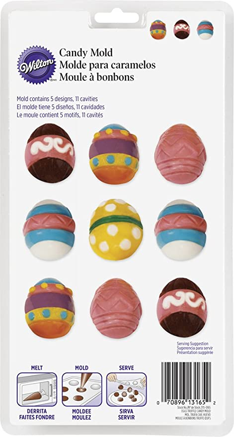 Wilton 2115-0165 Easter Eggs Truffle Candy Mold, Multicolor
