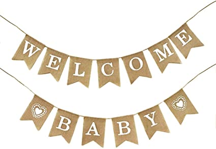 Amazon Com Dadam Welcome Baby Burlap Banner Flags Vintage Baby Shower Banner Rustic Baby Shower Decorations Banners And Signs Health Personal Care