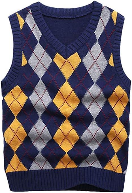 Amazon.com: Boys Sweater Vest V Neck Argyle Sleeveless Uniform Knit Plaid  Kids Clothes: Clothing