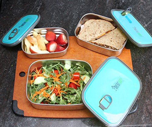 Stainless Steel Lunch Box with leak Proof Lid, Food Storage Containers, BPA Free and Non Toxic (Set of 3 in 1) - Color Blue