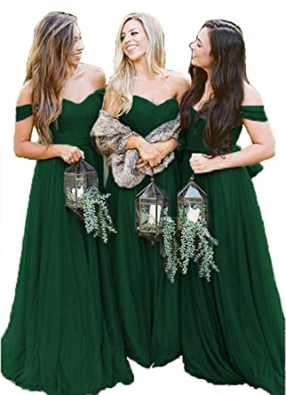 38e3ec2c22d Emerald Green Fall Bridesmaid Dresses Off The Shoulder Long Tulle 2018  Formal Gown