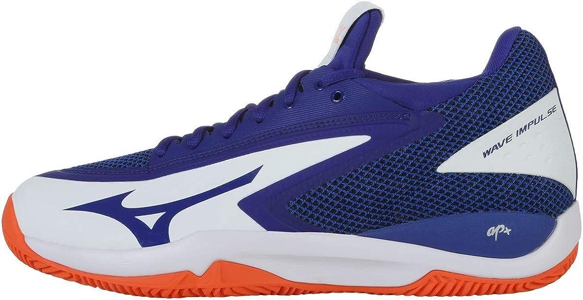 Mizuno Wave Impulse CC, Zapatillas de Tenis para Hombre, Blanco (White/Reflex Blue/Nasturtium 27), 45 EU