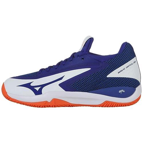 Mizuno Wave Impulse CC, Zapatillas de Tenis para Hombre, Blanco (White/Reflex Blue/Nasturtium 27), 45 EU: Amazon.es: Zapatos y complementos