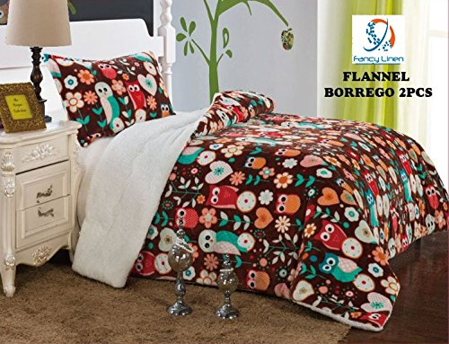 Fancy Collection 2pc Twin Size Blanket Sumptuously Soft Plush Owl Brown with Sherpa Winter Blankets Bedspread Super Soft New005